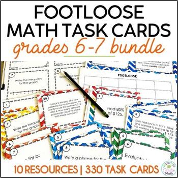 Math Task Card Bundle, Grades 6 & 7 -Footloose Activities