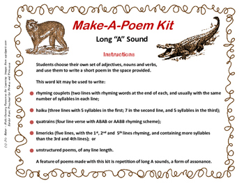 "Make-a-Poem Kit: Long ""A"" Assonance"