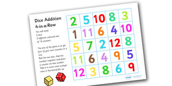 For In A Row Dice Addition Game