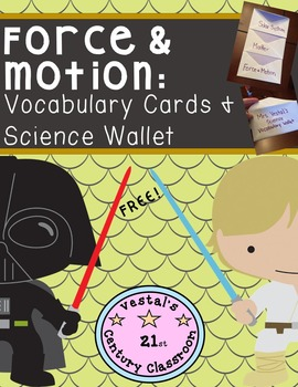 Force & Motion Vocabulary Cards & Science Wallet