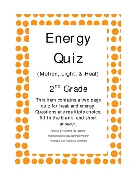 Force and Energy Quiz Test Assessment