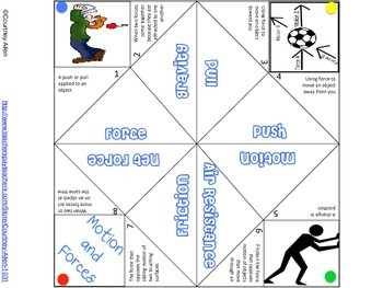 Force and Motion Cootie Catcher