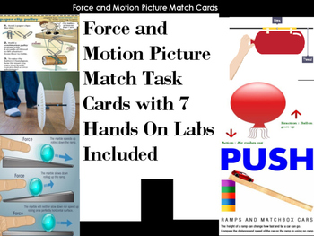 Force and Motion Picture Match Task Cards