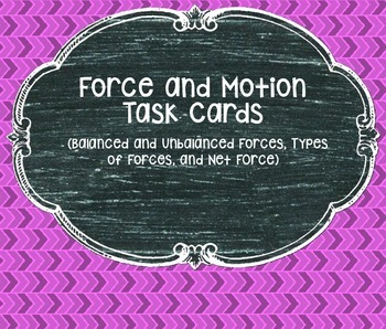 Force and Motion Task Cards (Balanced & Unbalanced, Net Fo