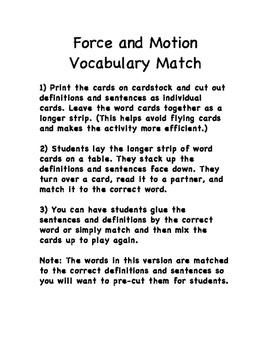 Force and Motion Vocabulary Review Matching Game