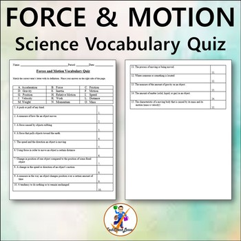 Forces and Motion Grade 4 Vocabulary Quiz and Word List