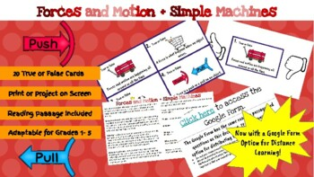 Forces and Simple Machines True or False Task Cards