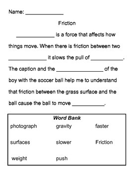 """Forces at Work"" Friction Paragraph Differentiated"