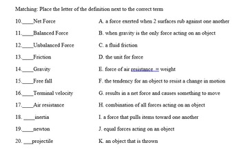 Study guide for Forces with answer key