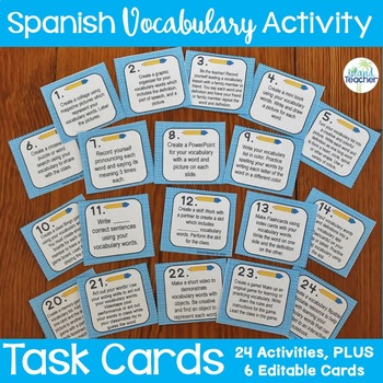 World Language Vocabulary Activity Task Cards Plus Editable Cards