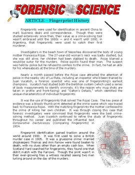 Forensic Science Article : Fingerprint History (Article an