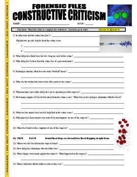 Forensic Files : Constructive Criticism (video worksheet)