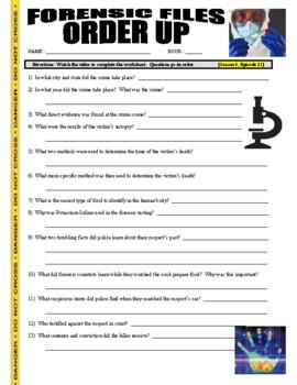 Forensic Files : Order Up (video worksheet)