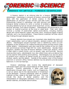 Forensic Science Article : Odontology (article and worksheet)