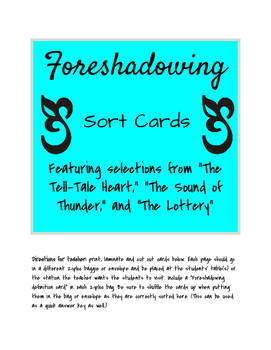 Foreshadowing Sort Cards