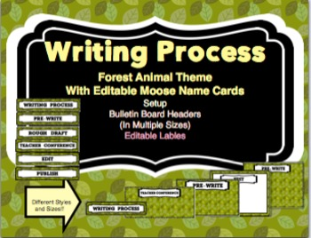 Forest Animal Theme Writing Process Bulletin Board Set