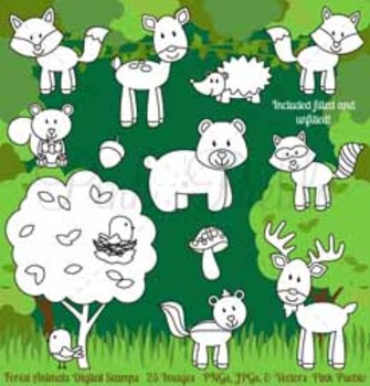 Forest Animals Digital Stamps, Forest Animal Clip Art, For