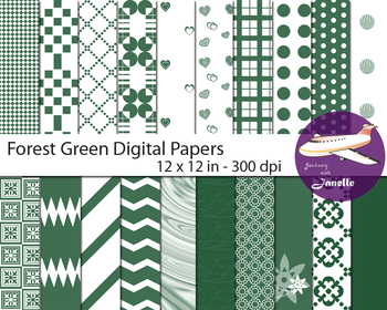 Forest Green Digital Papers for Backgrounds, Scrapbooking