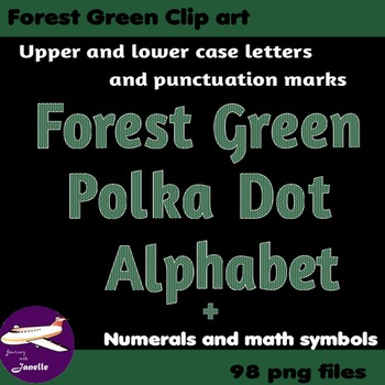 Forest Green Polka Dot Alphabet Clip Art + Numerals, Punct