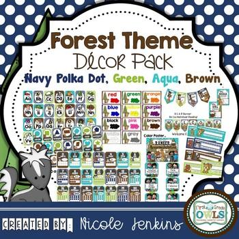 Forest Theme Decor Pack (Navy Polka Dot)