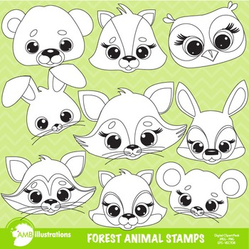 Clipart, Digital Stamps, Forest animal Faces outlines, Bla