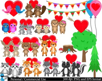 Forest animals in love Set Clipart Personal, Commercial Us