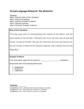 Formal Language Writing Lesson Plan & Graphic Organizer