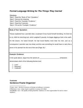 Formal Language Writing Lesson Plan & Sentence Frame