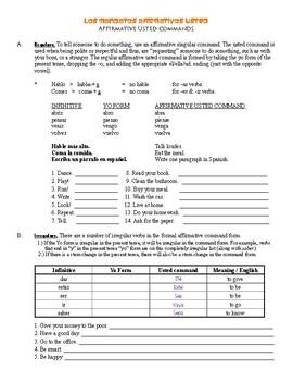 Formal Usted Commands / Imperative Tense - Grammar Worksheets