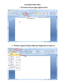Format in MLA with Microsoft Word 2007 - Screenshot Directions
