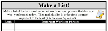 Formative Assessment - Make a List!