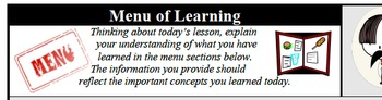 Formative Assessment - Menu of Learning