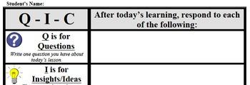 Formative Assessment - Q-I-C