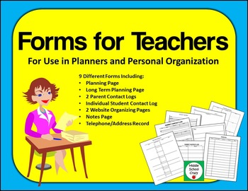 Forms for Teachers - For Use in Planners and Personal Orga