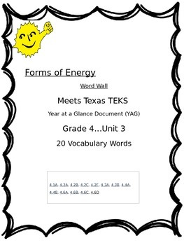Forms of Energy Word Wall:  Grade 4, Unit 3  TEXAS TEKS RE
