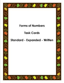 Forms of Numbers Task Cards