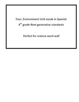 Foss 4th grade: Environments vocab-Spanish