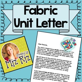 Kindergarten Science Fabric Unit- Printable Intro Letter f