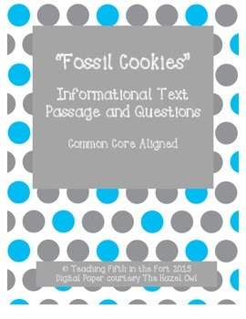 """""""Fossil Cookies"""" Informational Text and Questions Third Gr"""