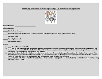 Fostering Positive Relationships: Steps for Student Consequences