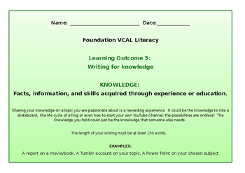 VCAL Foundation Literacy Learning Outcome 3