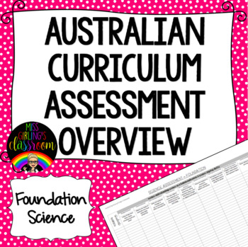 Foundation Science Australian Curriculum Assessment Overview