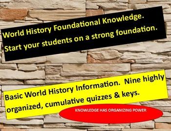 World History Basics:   Nine cumulative quizzes with answer keys