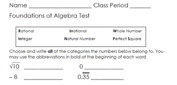 Foundations of Algebra Assessments and Answer Keys