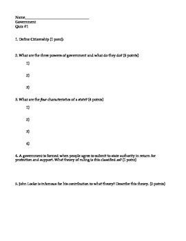 Foundations of Government Quiz