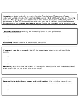 Foundations of Government Session 1 and 2 Activity
