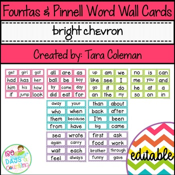 Fountas & Pinnell Editable Word Wall Cards (bright chevron)