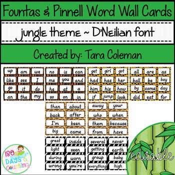 Fountas & Pinnell Editable Word Wall Cards (jungle theme~D