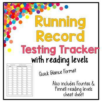 Running Records Reading Quick Glance Format & Cheat Sheet
