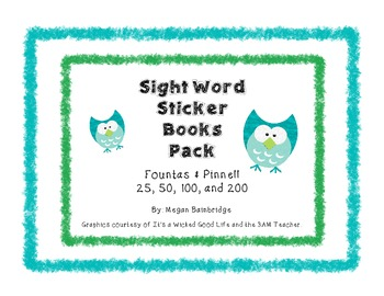 Fountas & Pinnell Sight Word Sticker Book Pack